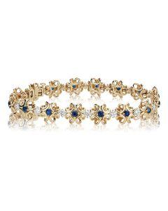 Золотой браслет с сапфирами и кристаллами Сваровски «Luxe»