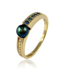 Кольцо с сапфиром и бриллиантом «Жемчужина»