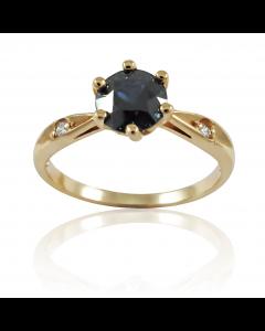 """Золотое кольцо с сапфиром и бриллиантами """"Любимой!"""""""
