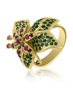 Золотое кольцо с демантоидами «Fantasie»