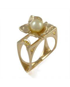 Золоте кільце з перлиною і цирконієм Сваровські «Флоретто»