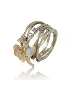 Кольцо із золота з аметистами та емаллю «Магнолія»