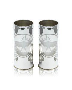 Набор из двух серебряных стопок с гравировкой «Олень»