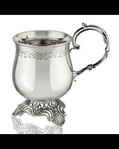 Кружка кофейная из серебра с оксидированием «Капуччино»