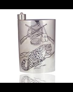 Фляга из серебра с гравировкой леопарда