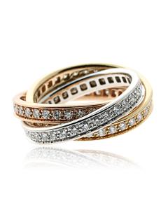 Золотое обручальное кольцо Тринити