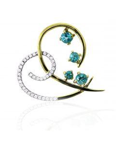 Золотий кулон з шпінеллю та діамантами «Because I Love You »