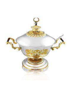 Срібна супница з позолотою «Царська», інкрустована яшмою