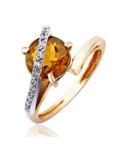 Золотое кольцо с цитрином и цирконами
