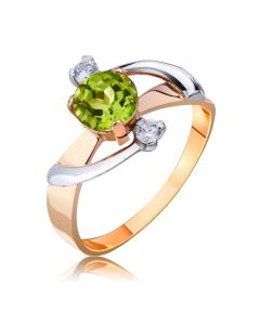 Золотое кольцо с хризолитом  «Блики неба»