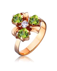 """Золотое кольцо с хризолитом """"Viola"""""""