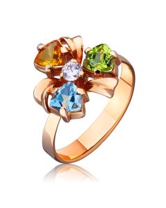 Каблучка золота з кольоровим камінням