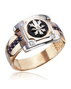 Золотий перстень з сапфірами чоловічий