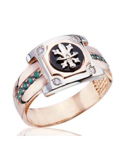 Золотой перстень с изумрудами и бриллиантами