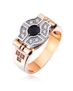 Золотой перстень с сапфиром и цирконием «Мачо»