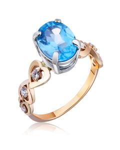 Золотое кольцо с сердцем и топазом