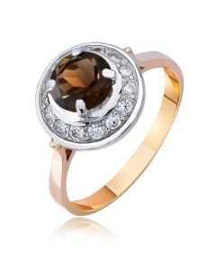 """Золотое кольцо с раухтопазом """"Прекрасная царевна II"""""""