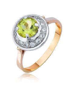 """Золотое кольцо с хризолитом """"Прекрасная царевна III"""""""