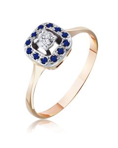 Золоте кільце з сапфірами і діамантами «Королівська розкіш»