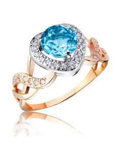 Золотое кольцо с топазом и сердцем