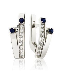 Золоті сережки з сапфірами і діамантами «Ти і я»