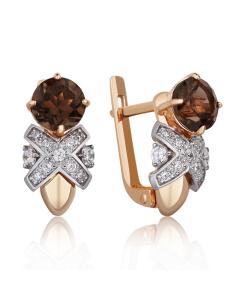 Золоті сережки з раухтопазом і цирконієм «Luxury».