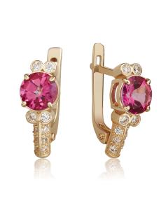 Золотые серьги с розовыми топазами