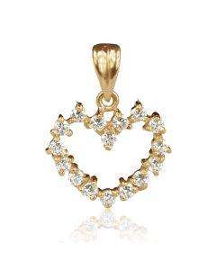 Золотий кулон з цирконієм «Полум'я кохання»