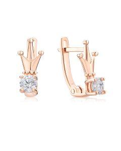 Золоті сережки корона для дівчинки «Diadem»