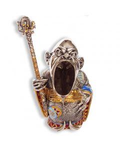 Серебряная пепельница «Мандарин» с эмалью и позолотой
