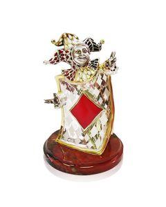 """Серебряная статуэтка с эмалью """"Бубновый туз"""""""