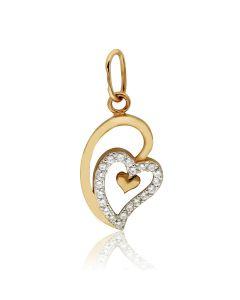 Золотий кулон з циркону «My heart»