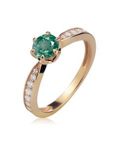 Золотое классическое кольцо с зеленым топазом «История любви»