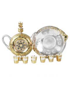 Серебряный набор для крепких спиртных напитков «Куманец» с позолотой