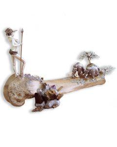 Серебряная композиция с позолотой и натуральными вставками «Охота на мамонтов»
