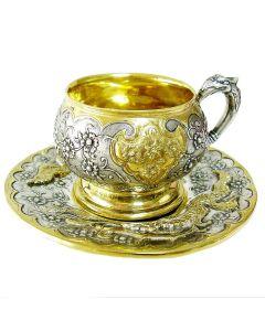 Чашка з блюдцем «Райські птахи»