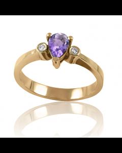 Золотое кольцо c аметистом «Mistery»