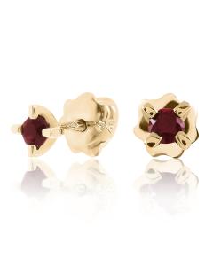 Золотые серьги-гвоздики с гранатами «Миа»