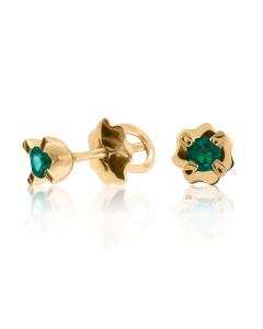 Золоті сережки-гвоздики зі смарагдами «Міа»