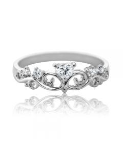 """Золотое кольцо с цирконием """"Корона-Сердце"""""""