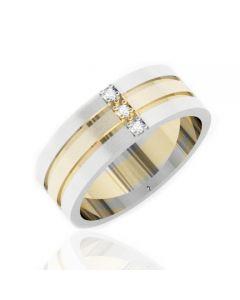 Золота обручка з трьома діамантами «Вічність щастя»