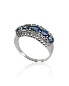 Золотое кольцо с дорожкой сапфиров и бриллиантов «Салерно»