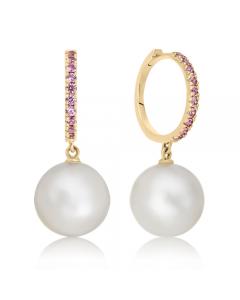 Сережки з перлами та рожевими сапфірами «Luigi»
