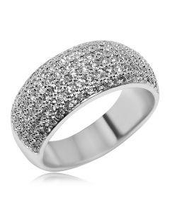 Золотое кольцо паве с циркониевой обсыпкой «Звездная метель»