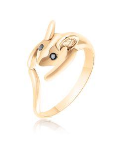 Золотое фаланговое кольцо «Кошки-мышки»