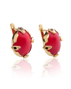 Золоті сережки з коралями «Ангеліка»