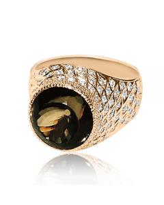 Золотое кольцо с раухтопазом и бриллиантами «Цезарио»