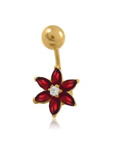 Золотий пірсинг з топазами і діамантом«Пелюстка»