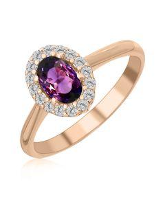 Кольцо с овальным александритом «Purple delight»