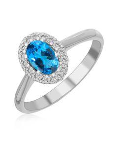 Кольцо с овальным топазом «Blue delight»